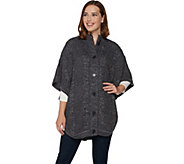 Denim & Co. Stand Collar Button Front Cable Detail Poncho Sweater - A284557