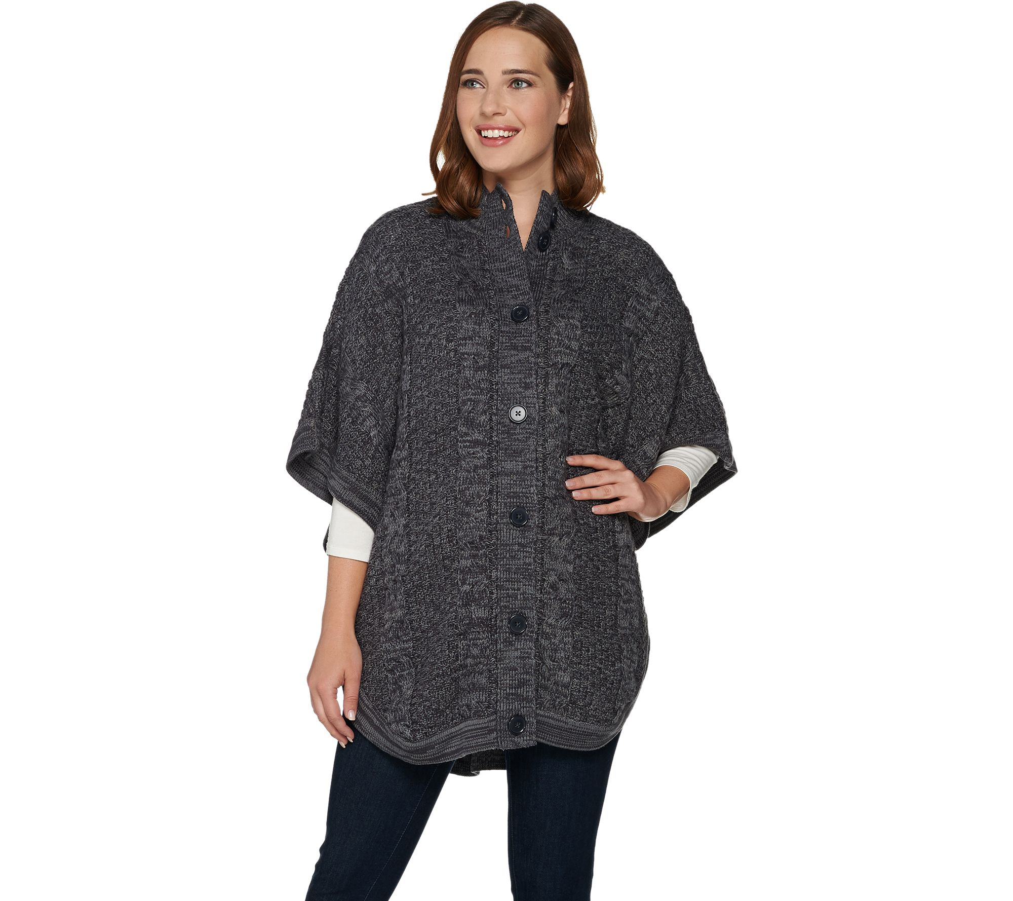 Denim Co Stand Collar Button Front Cable Detail Poncho Sweater
