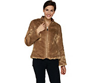 Dennis Basso Chevron Faux Fur Jacket with collar - A284857