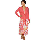 Carole Hochman Woodblock Floral Rayon Spandex Lounge Dress Set - A286857