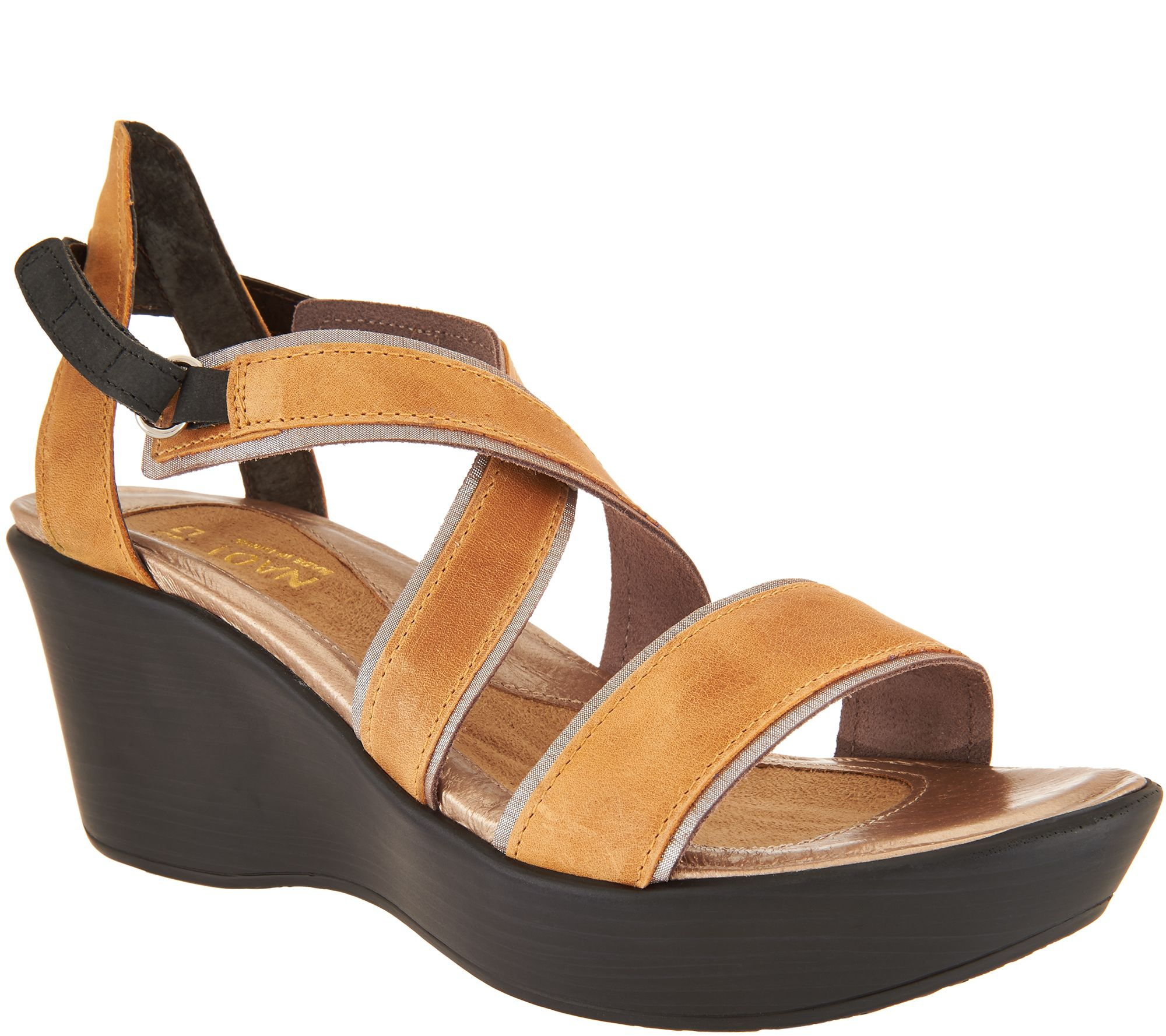 8fb3a7f0d88d Naot Leather Wedge Sandals - Gesture - Page 1 — QVC.com