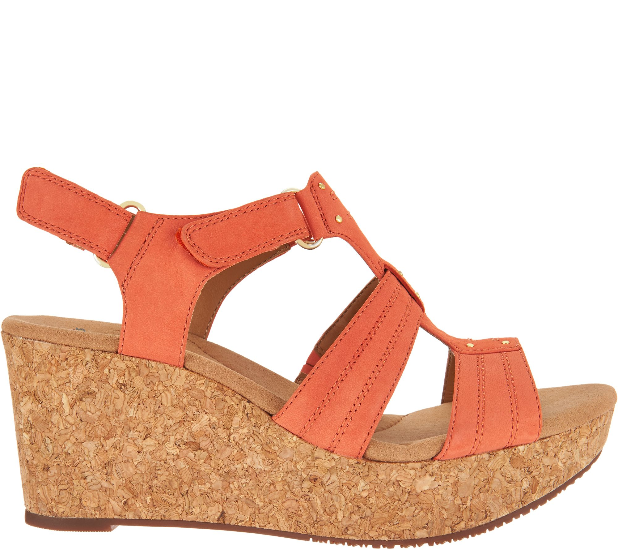 21377be493e Clarks Leather Triple Adjust Wedge Sandals - Annadel Orchid - Page 1 —  QVC.com