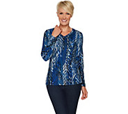 Susan Graver Brushed Liquid Knit V-Neck Top - A294857