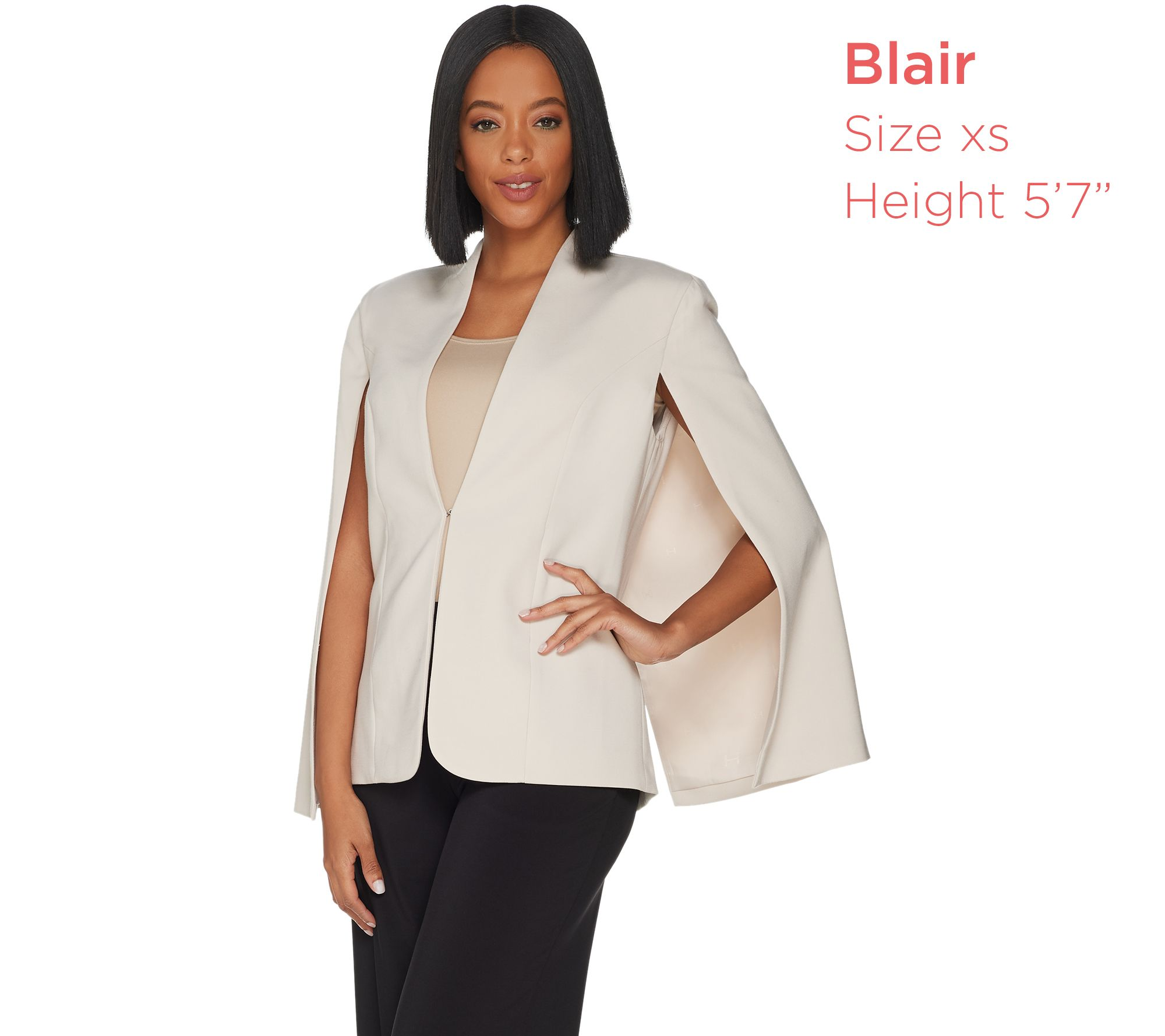 a1698184d53 H by Halston Stretch Suiting Cape Blazer with Front Closure - Page 1 —  QVC.com