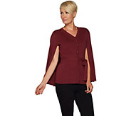 As Is Joan Rivers Sweater Knit Button Front Cape with Belt - A304957