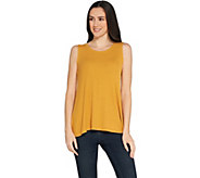 LOGO Layers by Lori Goldstein Ribbed Straight Hem Swing Tank - A305457