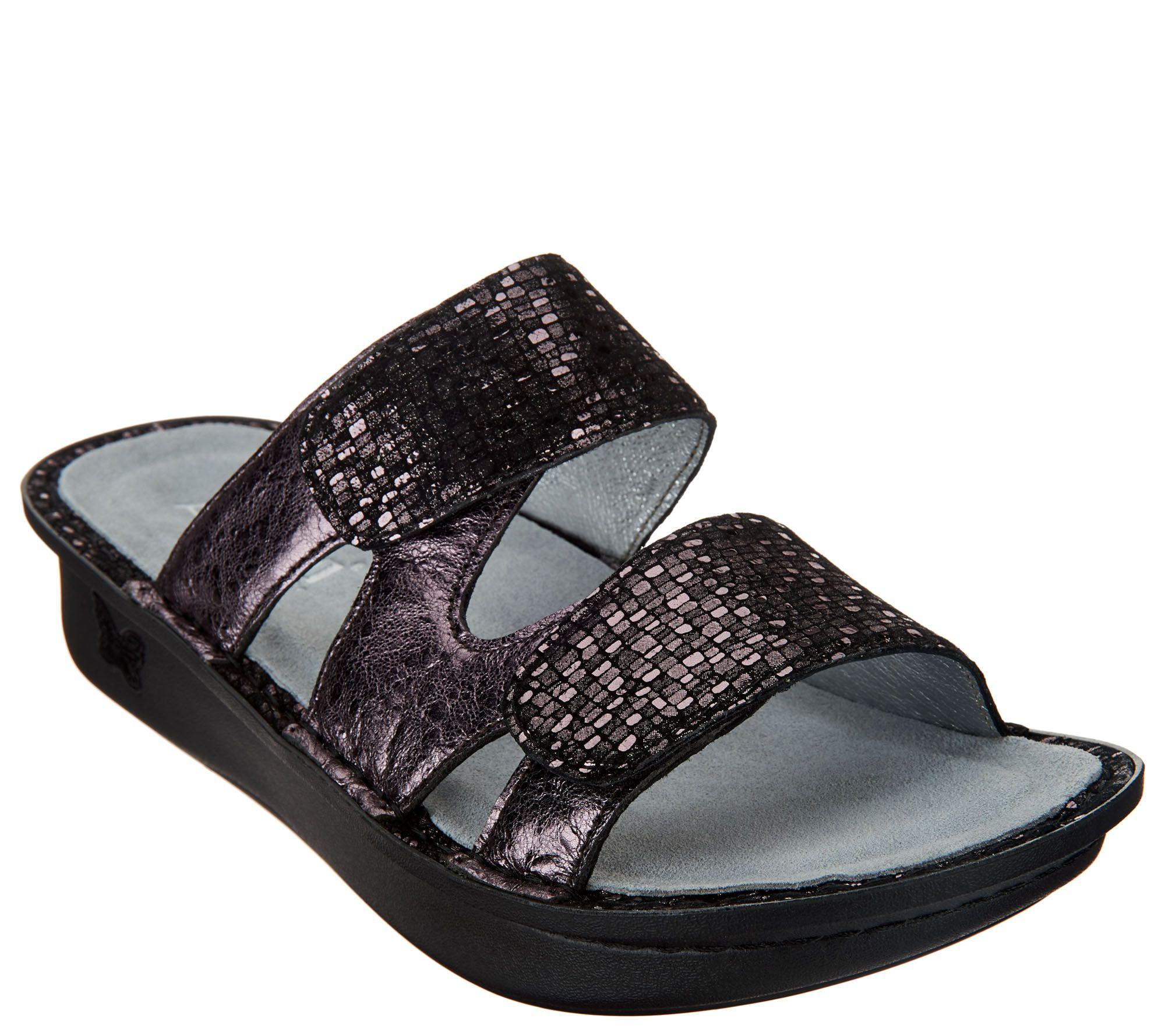 cfa72ca66abd Alegria Leather Adjustable Slide Sandals - Camille - Page 1 — QVC.com