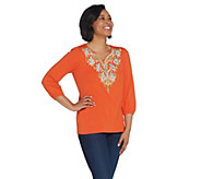 Bob Mackies Tree of Life Embroidered Knit Top - A306257