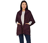 Weave of the Irish Open Front Jacquard Poncho with Pockets - A339957