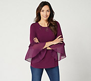 Susan Graver Liquid Knit Top with Sheer Chiffon Cuffs & Lace Insets - A346357