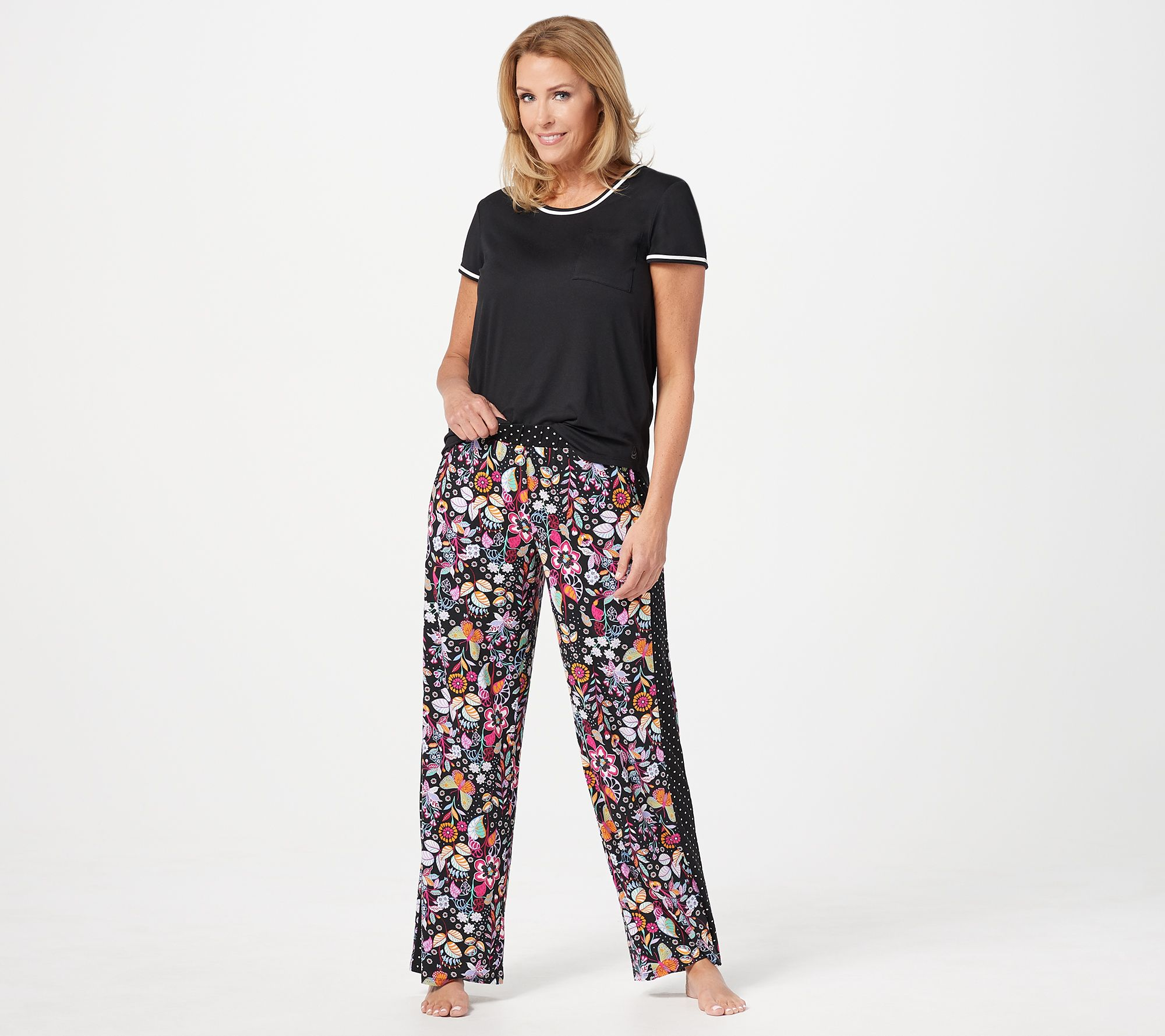b72fe8a1cb741 Cuddl Duds Cool   Airy Jersey Color- Block Print Pajama Set — QVC.com