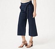 Du Jour Regular Paper Bag Waist Denim Culotte Crop Pants - A347557