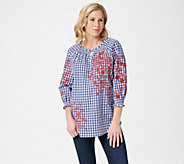 Isaac Mizrahi Live! Gingham Top with Embroidery - A352557