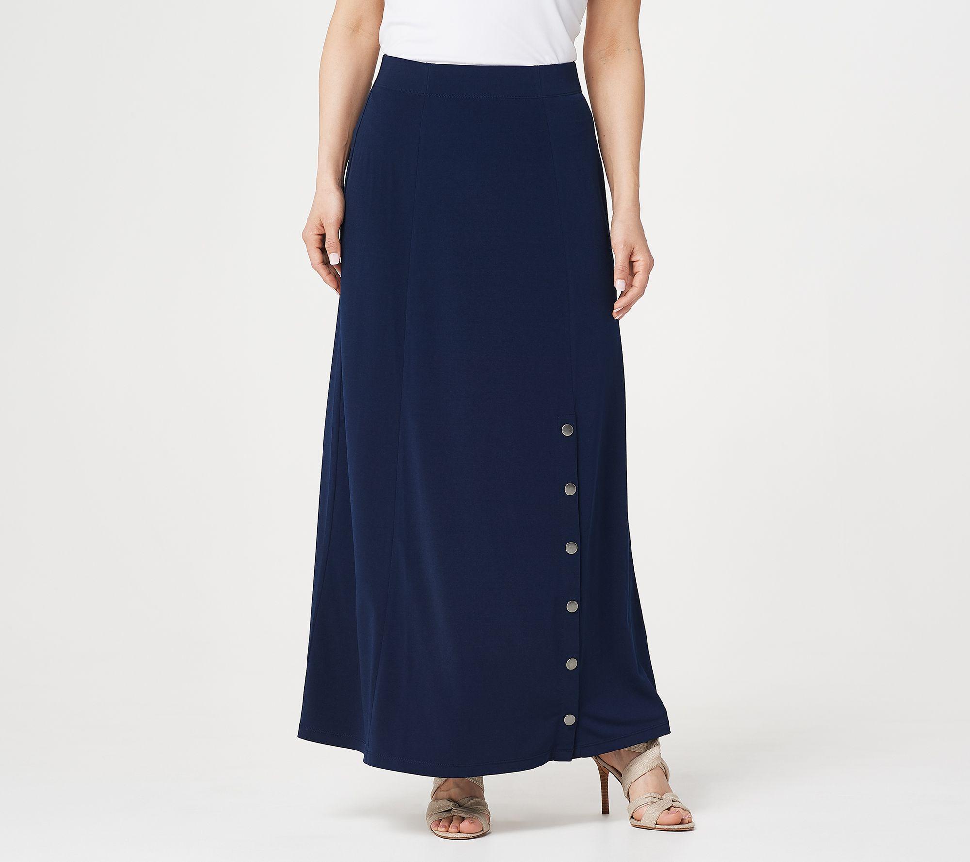 Abiti Da Sera Qvc.The1855 Susan Graver Printed Liquid Knit Six Gore Maxi Skirt With