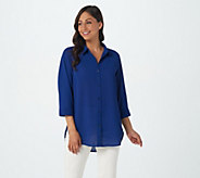 Joan Rivers 3/4 Sleeve Textured Crepe Button Front Shirt - A379957