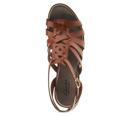b5af3006362fd6 Clarks Bendables Lucia Coral Woven Leather Wedge Sandals - Page 1 — QVC.com