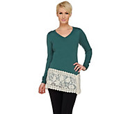 LOGO Lavish by Lori Goldstein Cotton Cashmere Sweater with Embroidered Hem - A269958