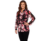 Susan Graver Printed Sheer Chiffon Big Shirt w/ Liquid Knit Tank - A272358