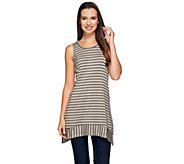 LOGO Layers by Lori Goldstein Striped Knit Top with Asymmetric Hem - A272858
