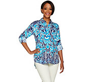 C. Wonder Ikat Print Button Front Carrie Blouse with Back Pleat - A278458
