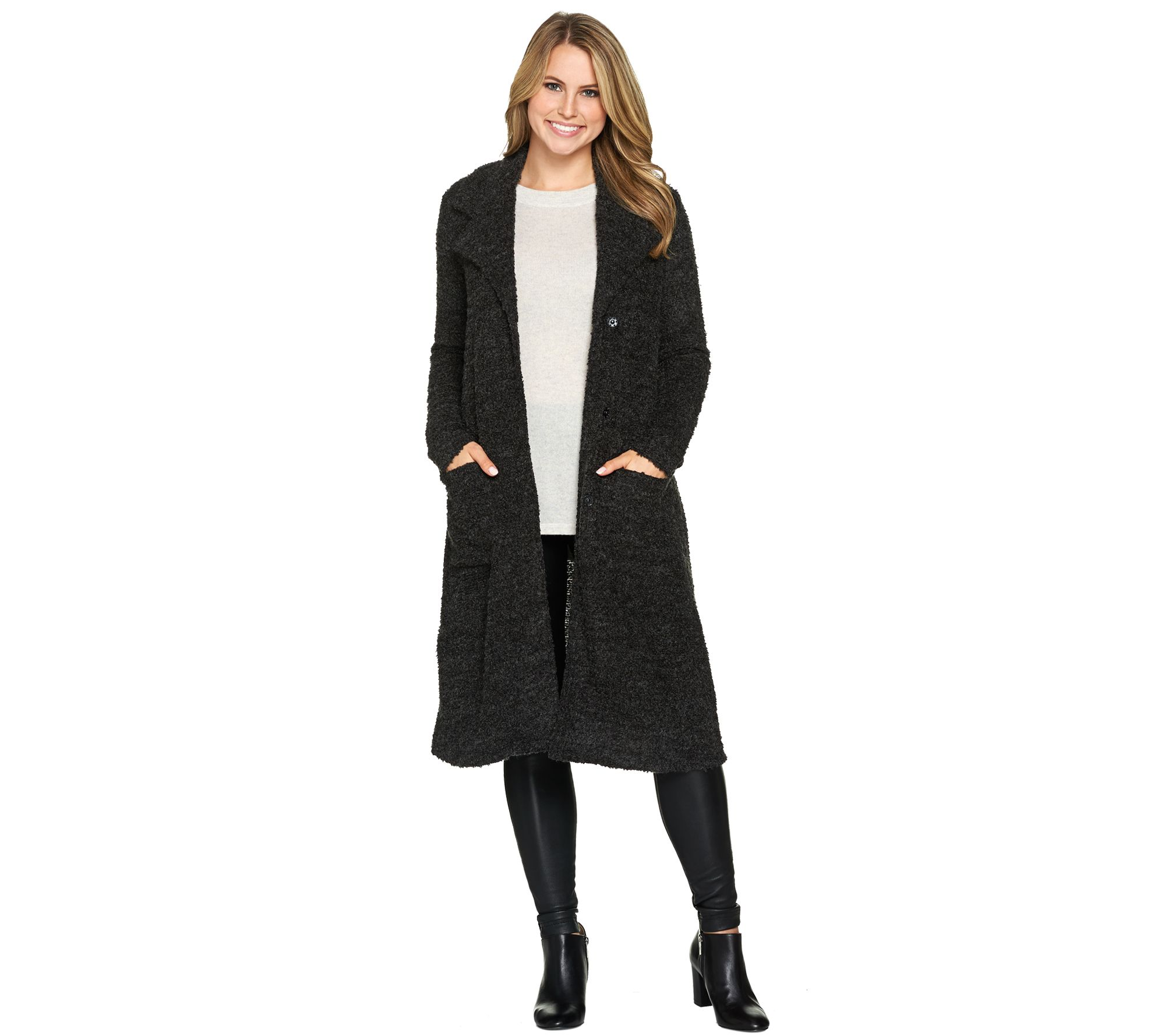 6f7e14c2965be3 Lisa Rinna Collection Duster with Oversized Lapels - Page 1 — QVC.com