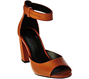 H by Halston Leather Block Heels with Adjustable Strap - Carina - A280358
