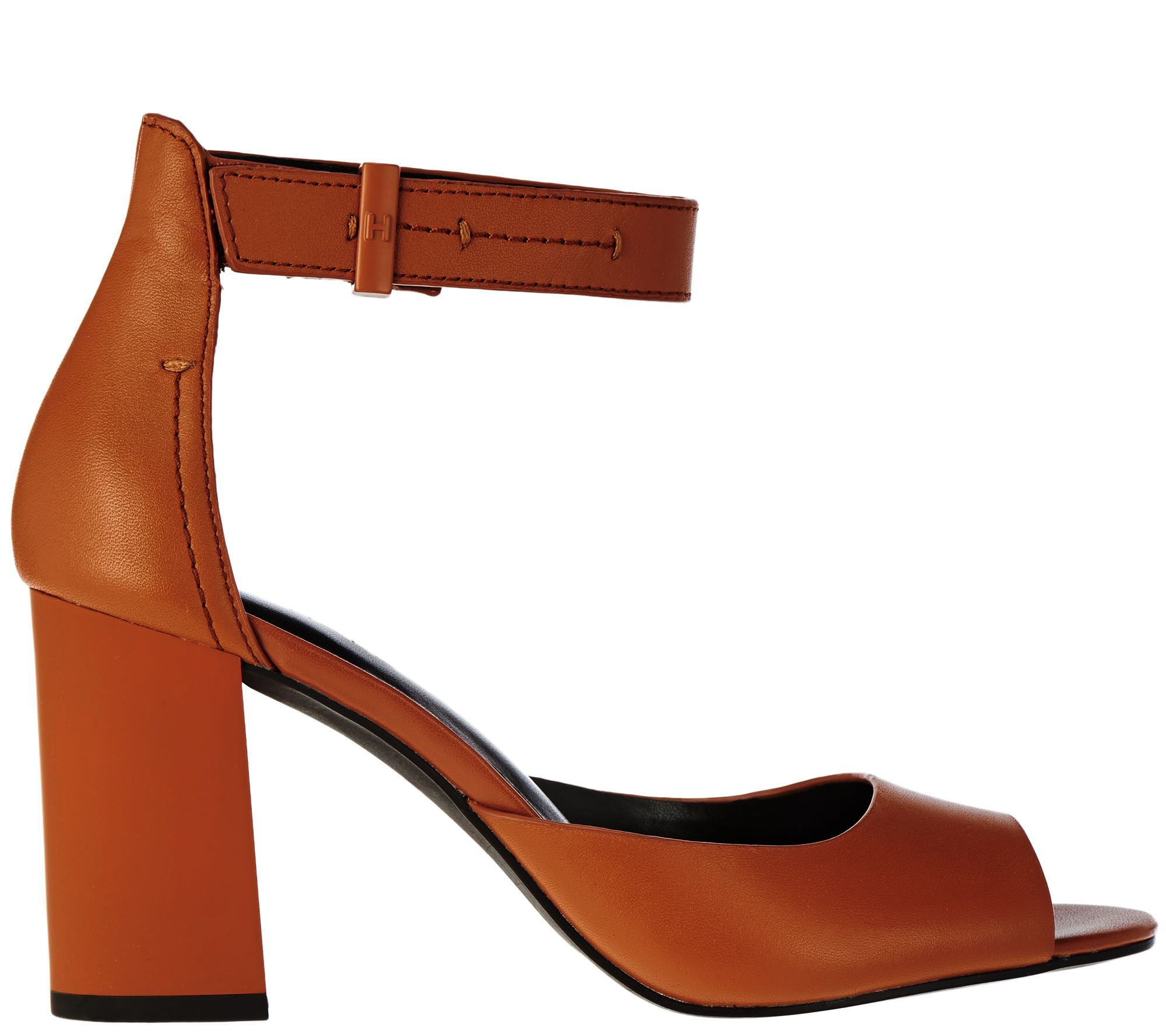 b9a82f3f9b3523 H by Halston Leather Block Heels with Adjustable Strap - Carina - Page 1 —  QVC.com