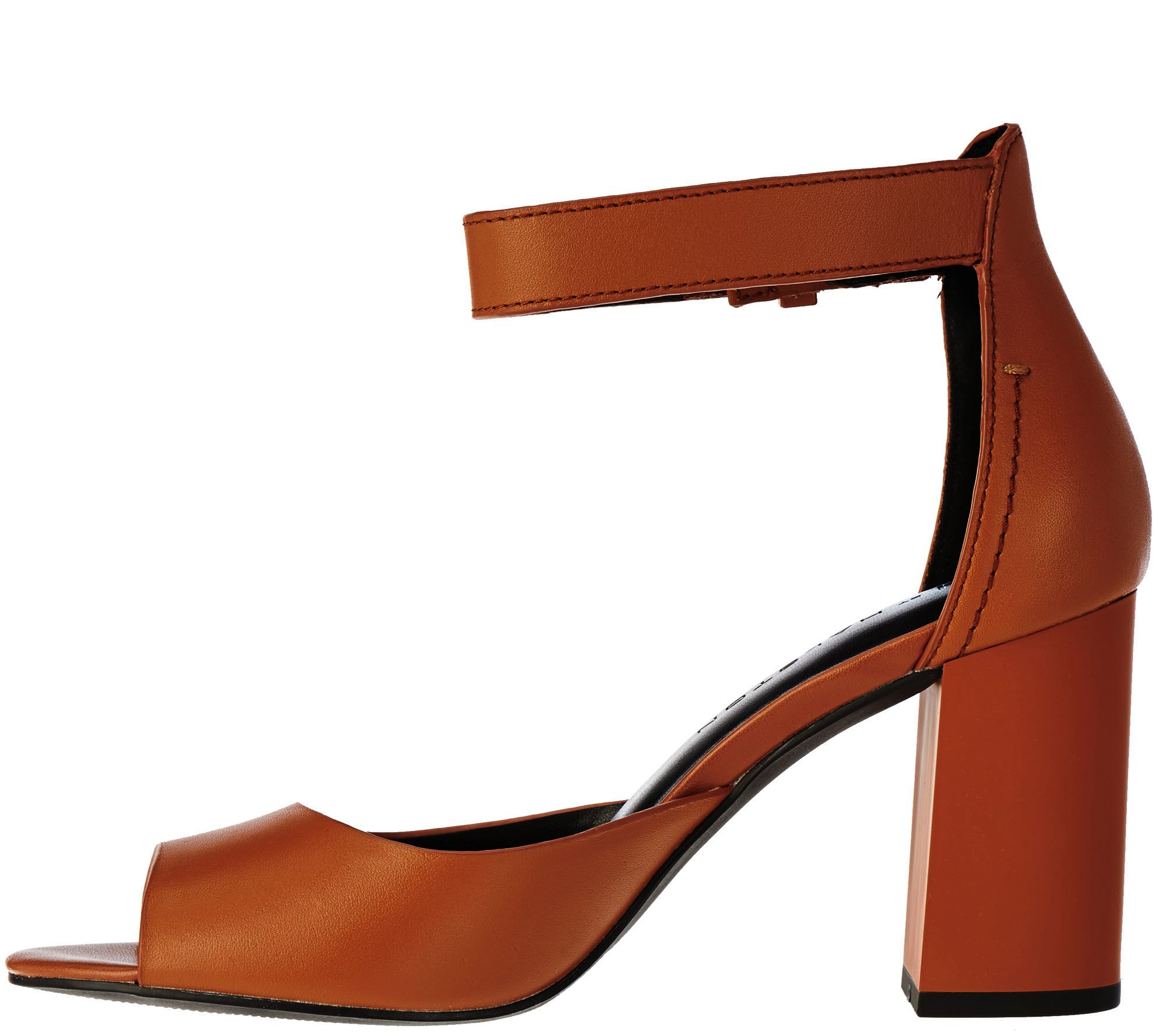 979fca0ce7fa H by Halston Leather Block Heels with Adjustable Strap - Carina - Page 1 —  QVC.com