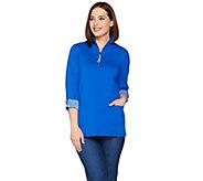 Susan Graver Weekend Stretch Cotton Modal Half Zip Tunic - A287658