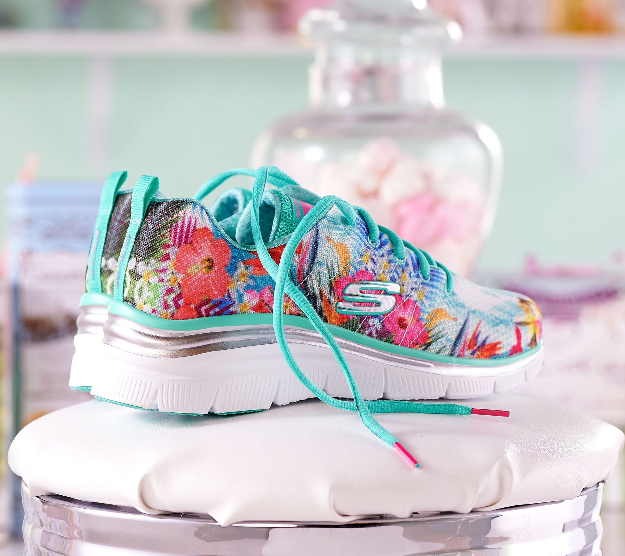 d74a654cddff Skechers Tropical Print Sneaker Wedges - Spring Essential - Page 1 — QVC.com