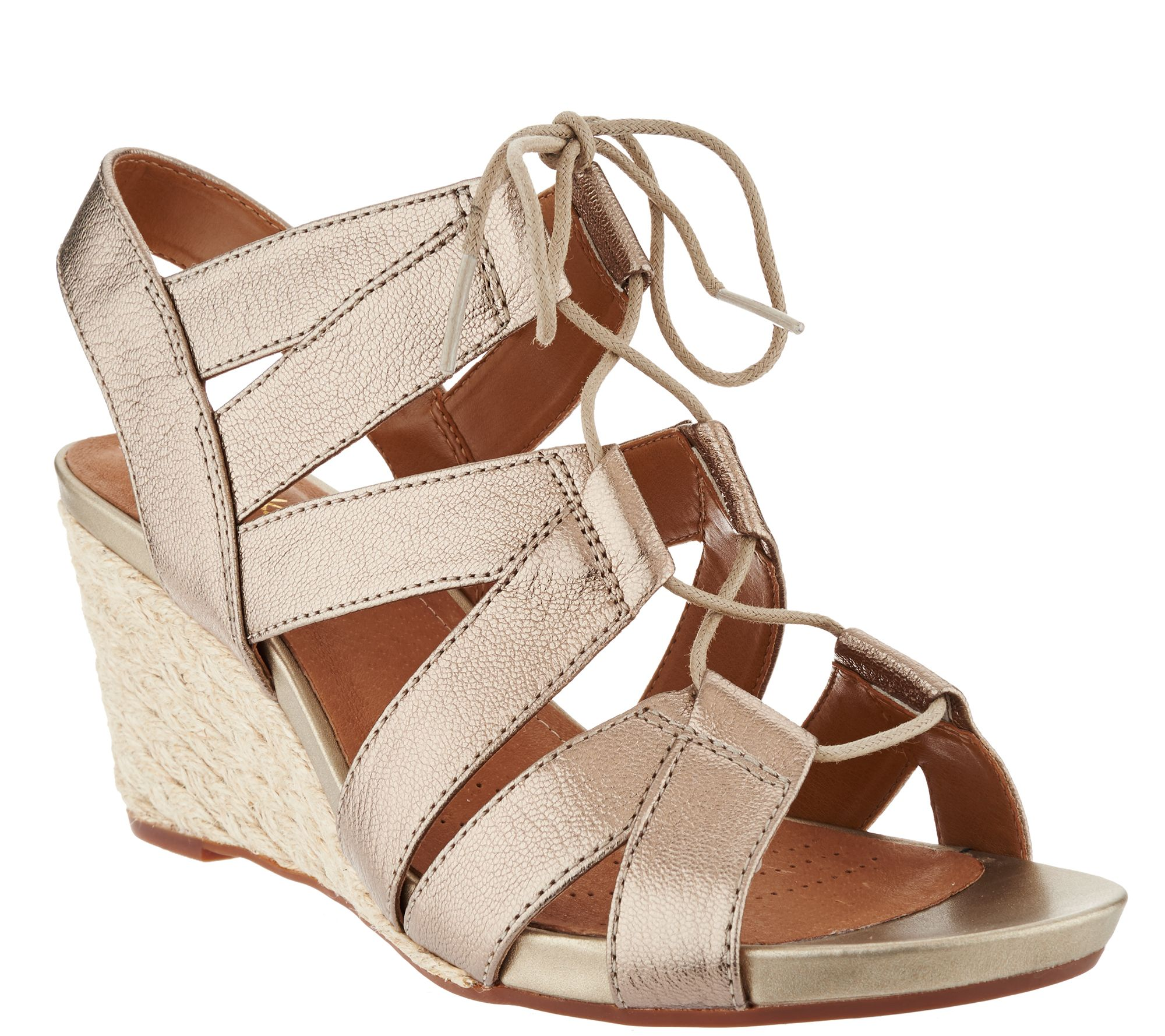 2c0f9430c49 Clarks Artisan Leather Espadrille Lace-up Wedges - Acina Chester - Page 1 —  QVC.com