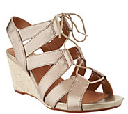 Clarks Artisan Leather Espadrille Lace-up Wedges - Acina Chester - A290058