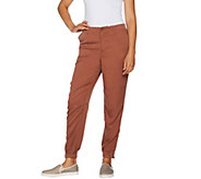 LOGO by Lori Goldstein Woven Pants with Zipper Detail - A290258
