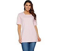 Denim & Co. Essentials Oversized Square Neck Tee w/ Elbow Sleeve - A292158