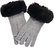 As Is Isaac Mizrahi Live! 2-Ply Cashmere Gloves w/ Faux Fur Trim - A292458