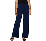 Isaac Mizrahi Live! Petite Pebble Knit Pull-On Wide Leg Pants - A294258