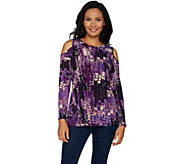 Susan Graver Printed Textured Liquid Knit Cold Shoulder Top - A294858