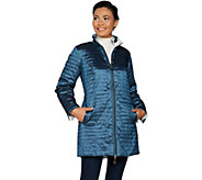 Dennis Basso Water Resistant Horizontal Quilted Coat - A297458