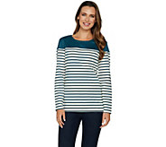 Denim & Co. Long Sleeve Striped Top with Solid Faux Suede Yoke - A297758