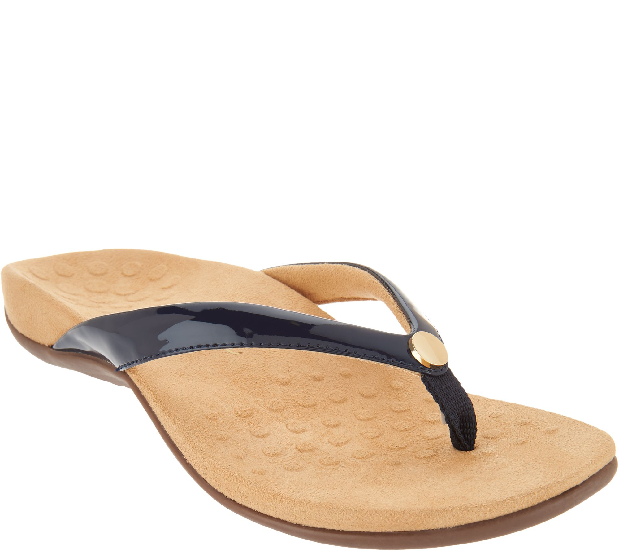 8ae8e8070ee44 Vionic Thong Sandals w  Button - Mona - Page 1 — QVC.com