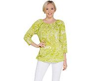 Susan Graver Printed Knit Gauze Raglan Sleeve Peasant Top - A304058
