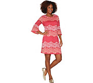 Isaac Mizrahi Live! Striped Lace Bell Sleeve Dress - A304158