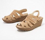 Skechers Suede Peep-toe Slingback Wedges - Stylin - A304458