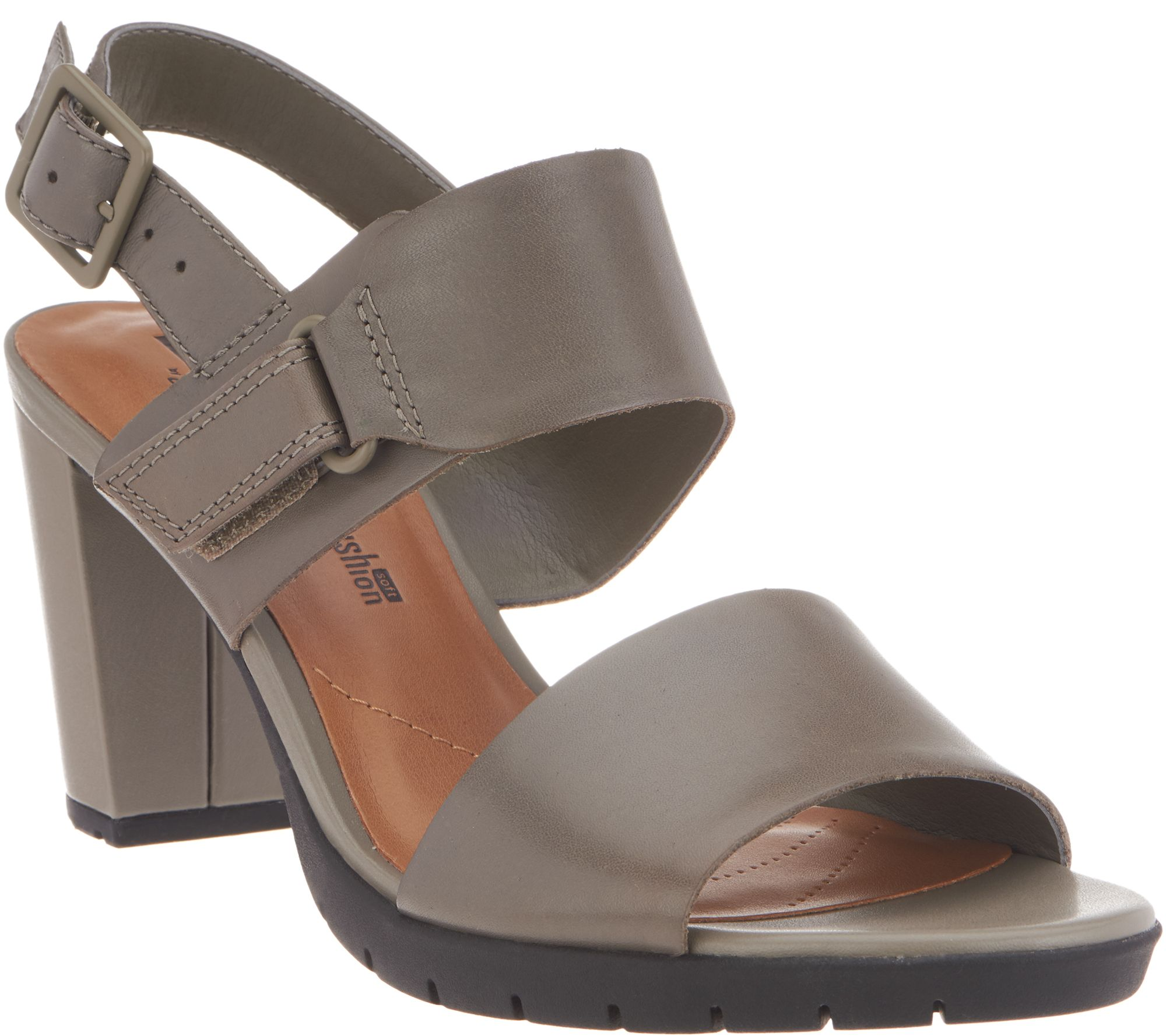 6202dee01a9 Clarks Leather Block Heel Adjustable Sandals - Kurtley Shine - Page 1 —  QVC.com
