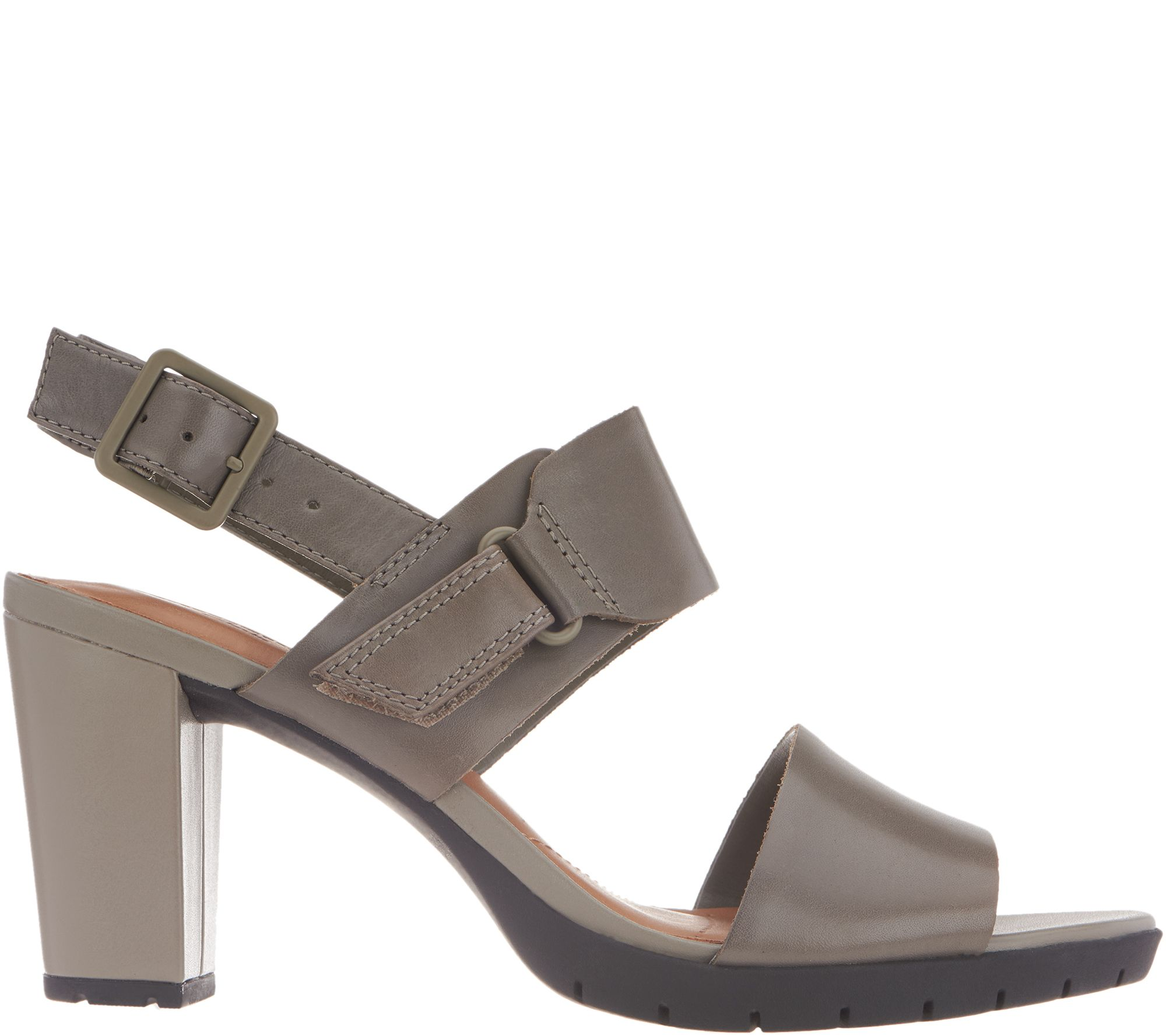3dc08006ded Clarks Leather Block Heel Adjustable Sandals - Kurtley Shine - Page 1 — QVC .com