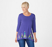 Quacker Factory 3/4-Sleeve Sequin Tree Trapeze Hem Knit Top - A343658