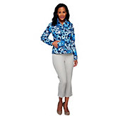 Liz Claiborne New York Floral Print Jean Jacket with Pockets - A253759