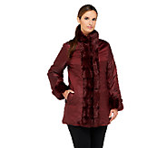 Dennis Basso Reversible Faux Fur Coat with Stand Collar - A258059