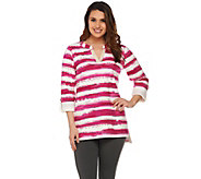 Susan Graver Weekend Striped French Terry Split Neck Top - A265859