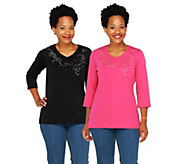As Is Quacker Factory Set of 2 V-Neck Scroll T-Shirts - A267759